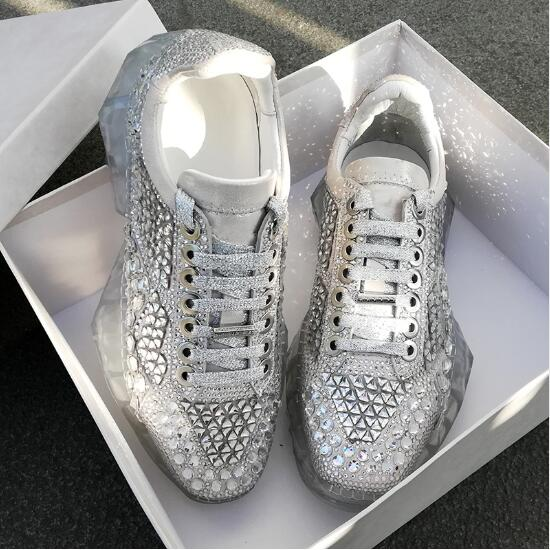 Genuine Leather 2019 Diamond Sneaker Clear Platforms Bling Bling Women  Sneakers Lace Up Thick Bottom Casual 3e8b5ae76