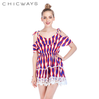 9502ff13476c Chicways Women Striped Print Short Rompers Shoulder Straps Ladies Fashion Jumpsuit  Lace Up Backless Short Sleeve