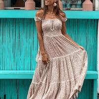 KHALEE YOSE Leopard Print Maxi Dresses Off The Shoulder Summer Dress 2019 Sexy Gypsy Hippie Chic Beach Women Holiday Long Dress