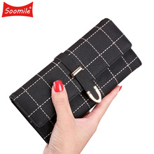 Soomile New 2018 Latest Female Wallet Leather Long Women Change Clasp Purse Mone