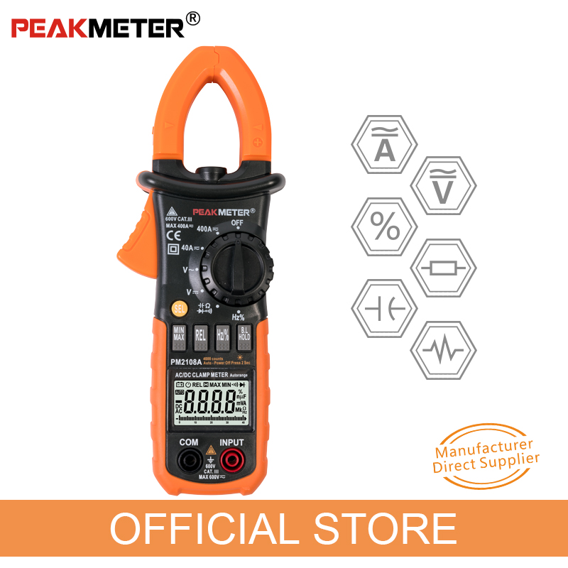 Official <font><b>PEAKMETER</b></font> <font><b>PM2108A</b></font> Digital AC DC Clamp Meter 4000 Counts Capacitance frequency Resistance Earth Tester Multimeter image