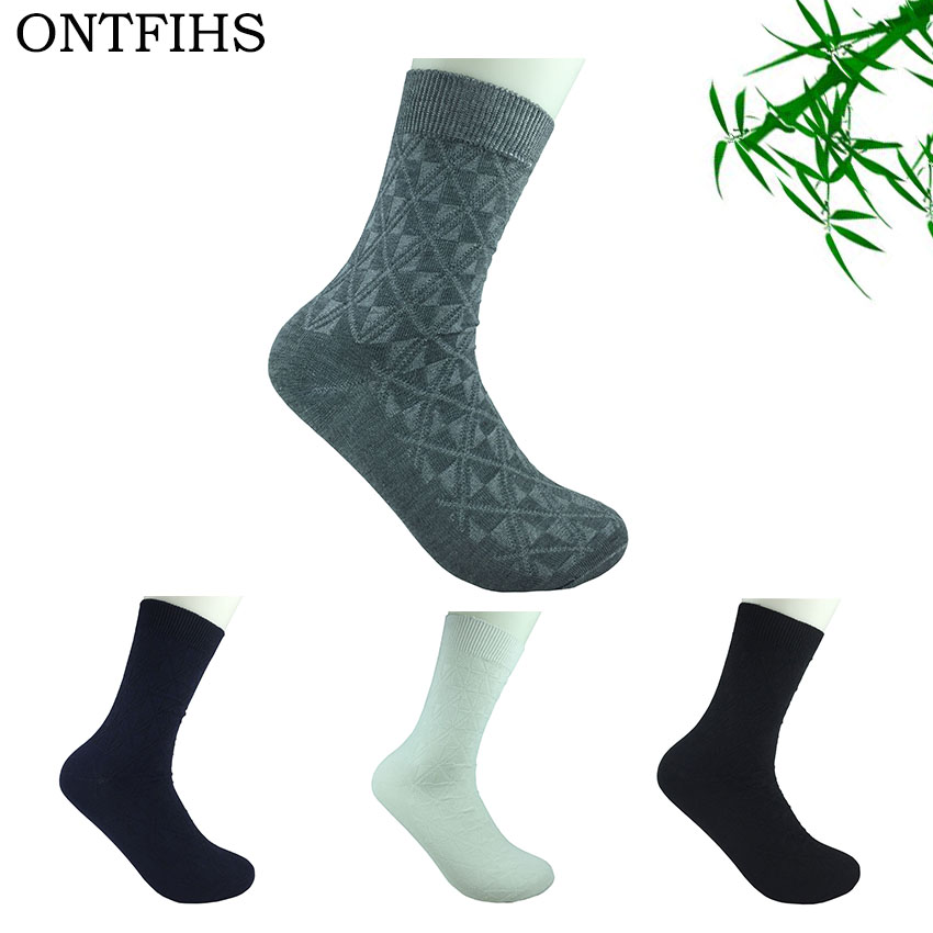 4 Pairs ONTFIHS Mens Meias Bamboo Fiber In The Tube Men Socks Classic Deodorant Business Socks Dress Sox Brand WZ-5