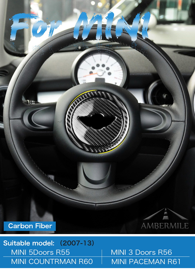 Carbon Fiber Steering Wheel Stickers Cover Trim for Mini Cooper Clubman R55 R56 Countryman R60 Paceman R61 Accessories (1)