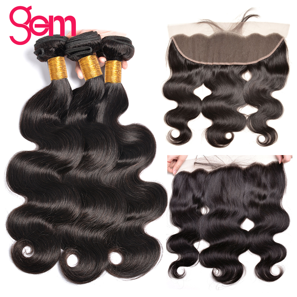 Gem Beauty Body Wave Bundles With Frontal Brazilian Hair Weave Bundles With Closure 13x4 Inches Non