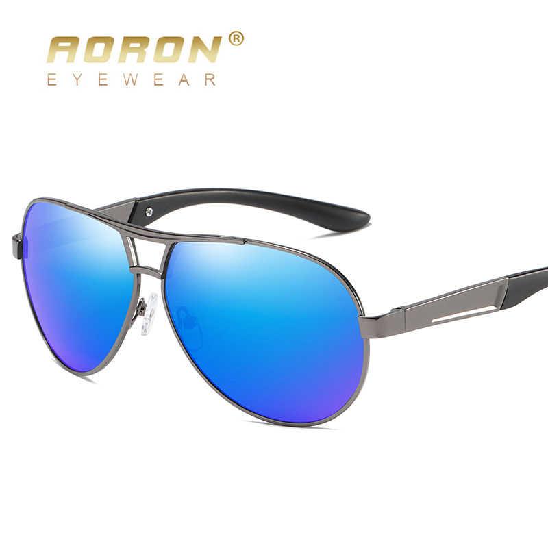 AORON رجالي نظارات الاستقطاب النظارات الشمسية الذكور سائق نظارات مرآة نظارات شمسية مستقطبة إطار معدني