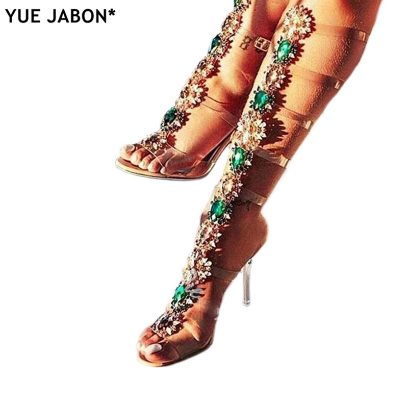 Woman Sandal Boots Rhinestone Lady Knee High Boots Thin High Heels Stiletto Crystal Dress Summer Shoes Sandalias Bohemia Style-in Women's Sandals from Shoes    1
