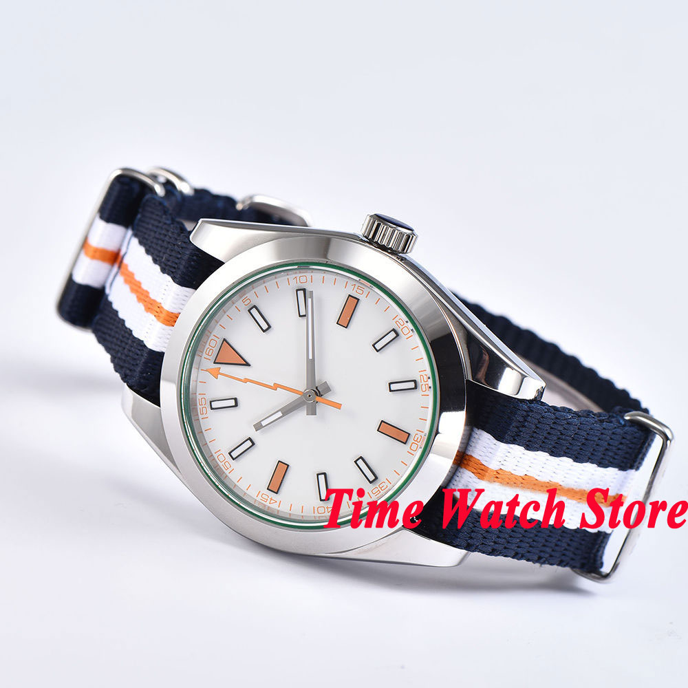 40mm Parnis white sterile dial orange flash hand sapphire glass Nylon strap Mechanical Automatic movement men's watch 1064 40mm parnis white dial vintage automatic movement mens watch p25
