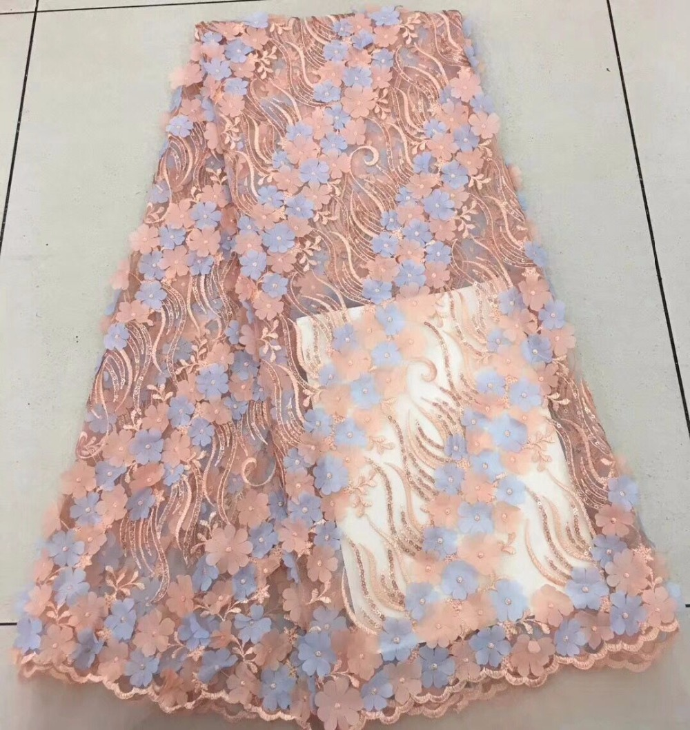 sky blue lace fabric 3d flowers tissus africains guipure tulles ... 6655cabd748e