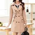 New Spring Autumn Casual Trench Coat For Women 2017 Plus Size Long Double Breasted Slim Brand Windbreaker Outerwear Coat S-XXXL