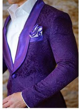 High Quality One Button Purple Paisley Groom Tuxedos Shawl Lapel Groomsmen Mens Suits Blazers (Jacket+Pants+Tie) W:695