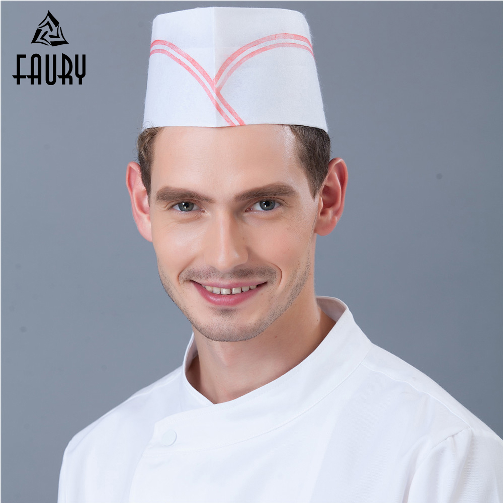 10Pcs/Lot Wholesale One-time Hats Disposable Non-woven Paper 10cm High Caps Restaurant Kitchen Hotel Chef Workwear Accessories