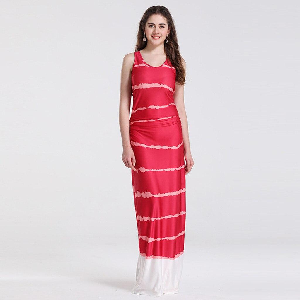 Для женщин Свободные в полоску волнистое платье новые летние без рукавов Повседневное свободные вечерние праздник Макси длинное платье