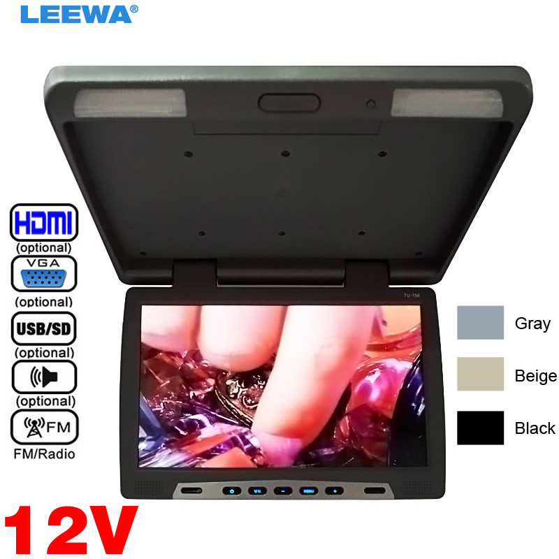 LEEWA 12V Car Bus 15.6inch Roof Mounted LCD Monitor Flip Down LCD Monitor For Car DVD Player USB SD FM VGA HDMI Black,Grey,Beige