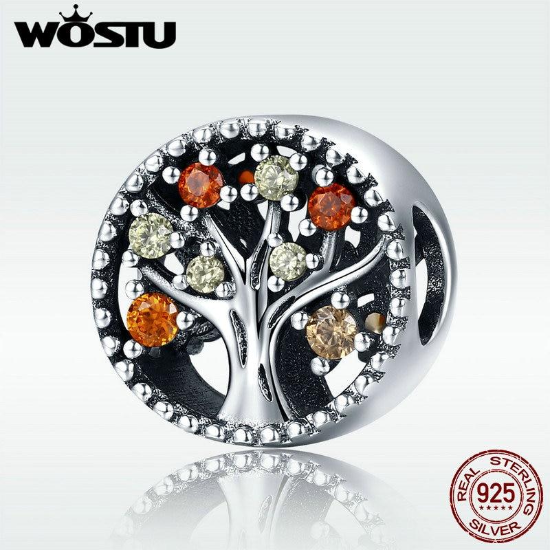 WOSTU 925 Sterling Silver Autumn Genuine Tree of Life Fruitful Autumn Beads fit original wst Charm Bracelets Jewelry DXC219tree of life beadbead treesilver charms beads -