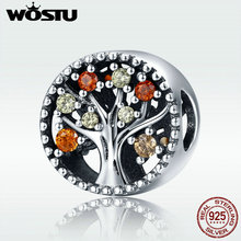 WOSTU 925 Sterling Silver Autumn Genuine Tree of Life Fruitful Autumn Beads fit original wst Charm Bracelets Jewelry DXC219