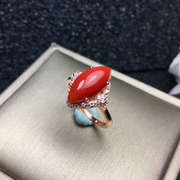 [MeiBaPJ Perfect Precious Coral Gemstone Ring for Women Real 925 Sterling Silver Fine Jewelry