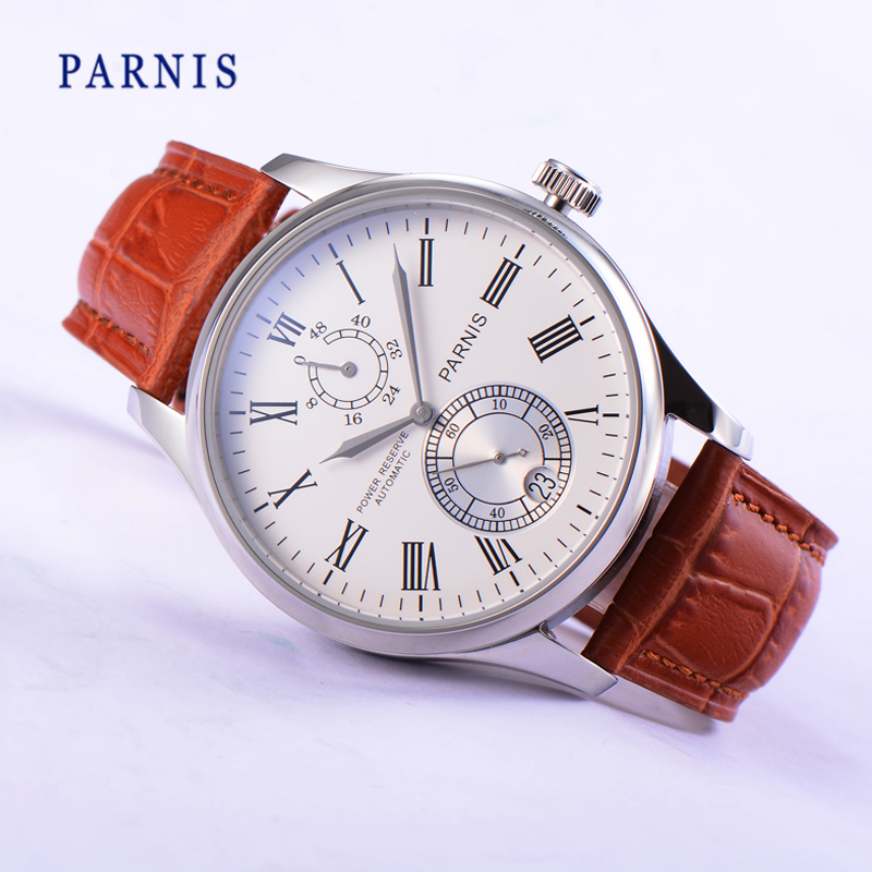 Parnis 44mm Automatic Self Wind Watch Auto Date Chronograph Movement Black Dial Silver Hands Mechanical Wristwatch
