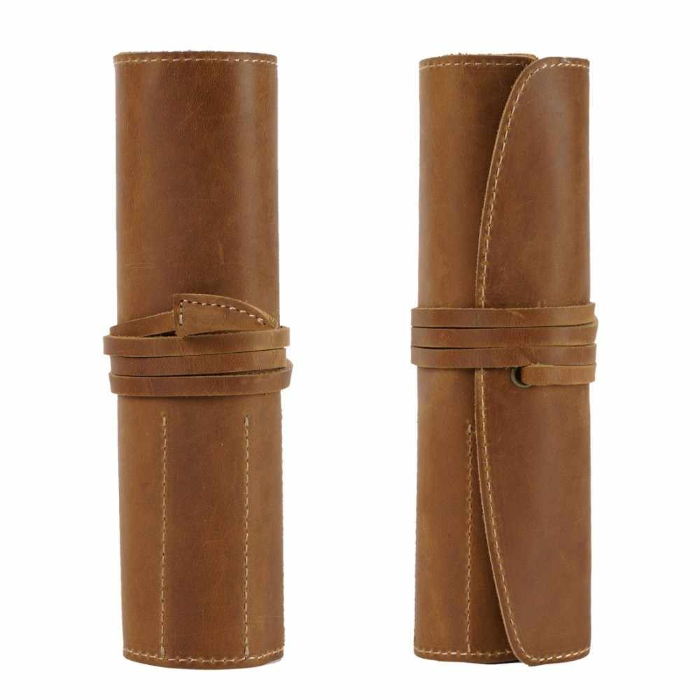 100% Genuine Leather Rollup Pencil Bag Storage Pouch Organizer Wrap Bag Vintage Retro Creative School Stationary Product