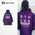 PROVERGOD 16ss Хип-Хоп Мужчины Продлить Куртка Мода Письмо Негабаритных Пальто Дождя Фиолетовый Балахон Уличной Одежды
