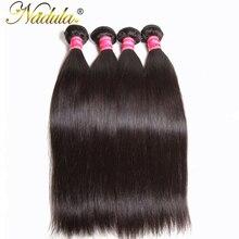 Nadula волос перуанский прямо Вьющиеся волосы 8-30 дюймов 100% Пряди человеческих волос для наращивания не Волосы Remy цельнокроеное платье может быть mix Связки Длина