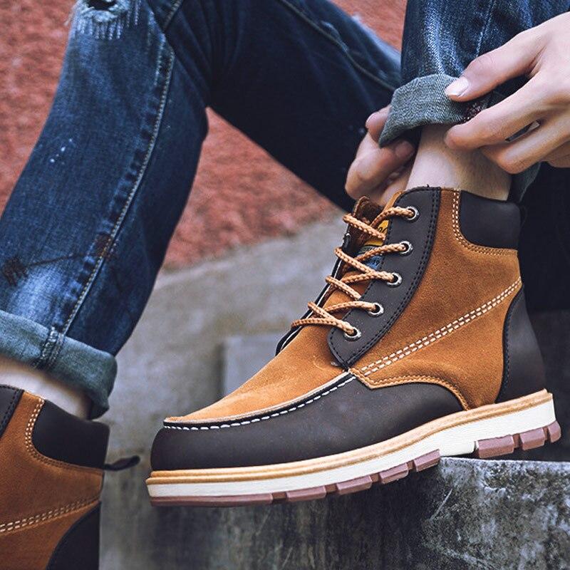 Sonnig 2018 Neue Mode Casual Männer Herbst Martin Stiefel Warme Outdoor Casual High Top Pu Leder Männlichen Schuhe Lby2018 Gesundheit Effektiv StäRken Home