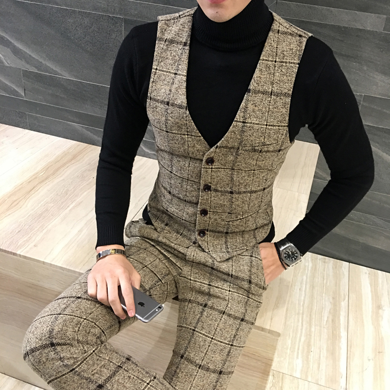 New Design Wool Plaid Vest Suit Pants Fashion Boutique Men's Formal Wear Wedding Casual Business Suit Vest Men's Slim Suit Pants