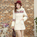 Korean women's 2014 new winter coat slim slim even cap collar stitching wool jacket