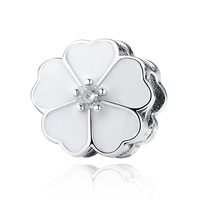 Primrose With White Enamel And Clear CZ Clip 100% 925 Sterling Silver Charm Beads Fit European Charms Bracelet Y