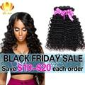 8A Brazilian Virgin Hair Deep Wave 4 Bundles Deep Wave Brazilian Hair,100% Human Hair Extension Mink Brazilian Curly Virgin Hair