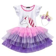 Baby Girls Unicorn Costumes With Flowers Headband Ruffle Sleeve Children Tutu Dress for Kids Clothes 2-6 Years 2