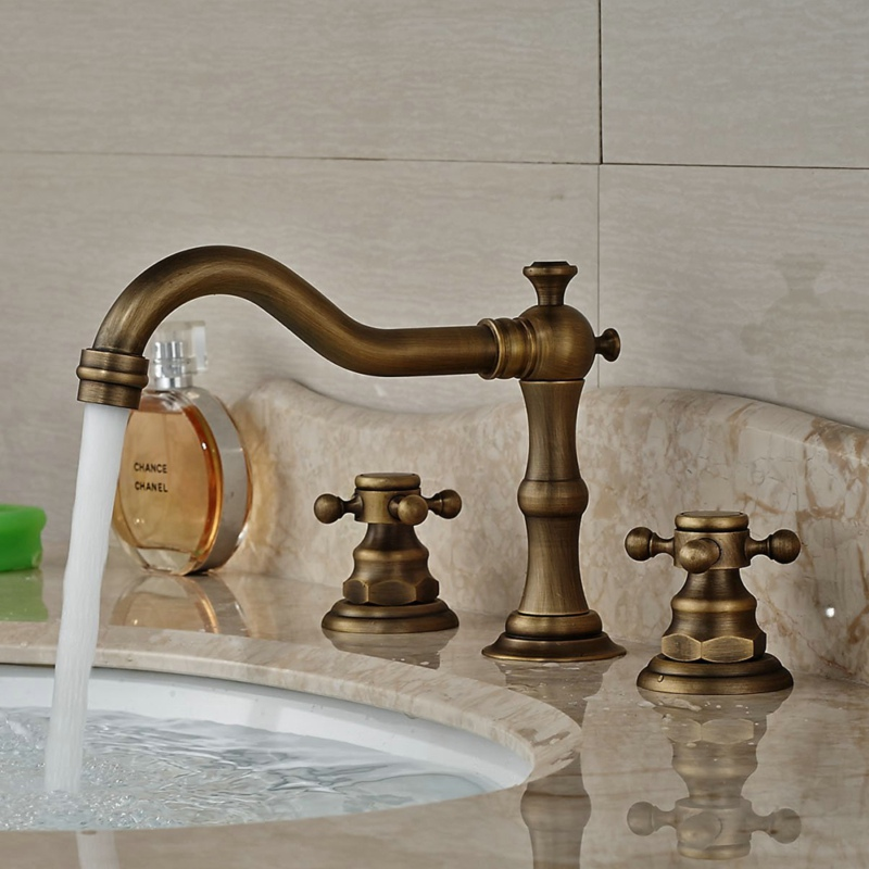 Free shipping Antique brass basin faucet Bathroom 3 piece set faucet Deck mounted hot and cold water mixer tap B-8205A free shipping luxury three piece bathroom faucet brass chromed basin tap wall mounted waterfall faucet lt 303
