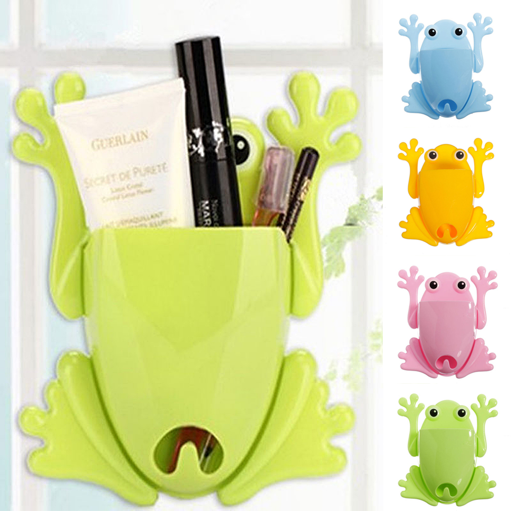 Bathroom Frog Toothbrush Holder Wall Stick Paste Organizer Key ...