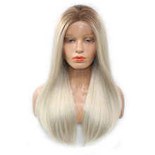 DLME Heat Resistant Synthetic Platinum Blonde Wig Glueless Lace Front Natural Look Long Women Lady Straight Hair 16-26 Inch