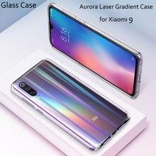 For Xiaomi Mi 9 Case Luxury Gradient Glass Cover for Transparent Aurora Laser Coque xiaomi mi9 case
