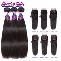 Mornice Brazilian Straight Hair Lace Closure Free Part Hair Weave Bundles Non Remy Natural Color Human