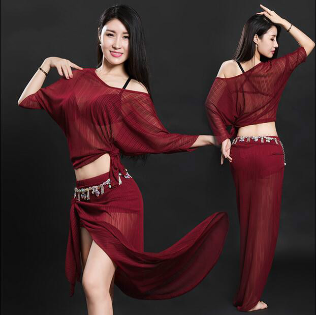 eb734fd60 Sexy Women Soft Belly Dance Costume Oriental Dancing Training Clothing Top+Skirt  Suit for Women belly dance wear DW032