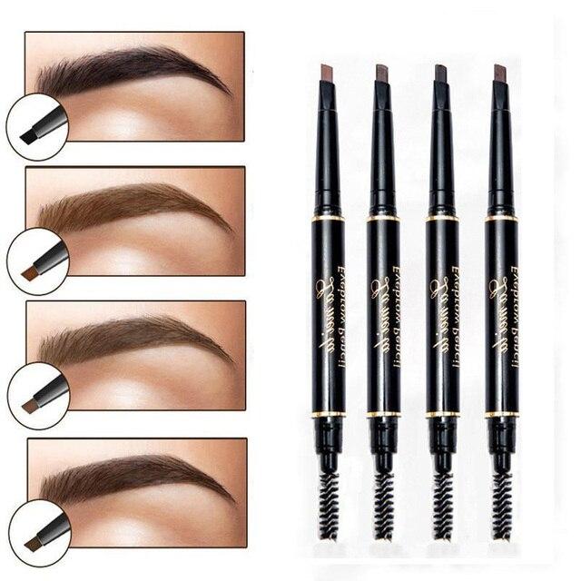 9 tipos de cejas naturales de pintura de larga duración lápiz de cejas con brocha de cejas impermeable negro marrón herramienta automática de maquillaje cosmético