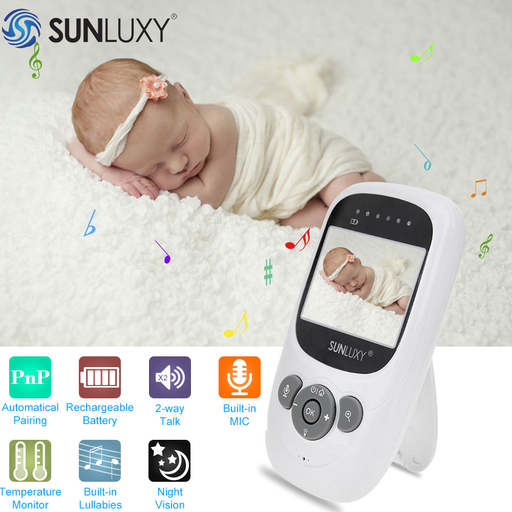 SUNLUXY Baby Monitor EU 2.4 inch Digital LCD 2.4GHz Baby Monitor with Camera Wireless Night Vision Video Surveillance Babycam