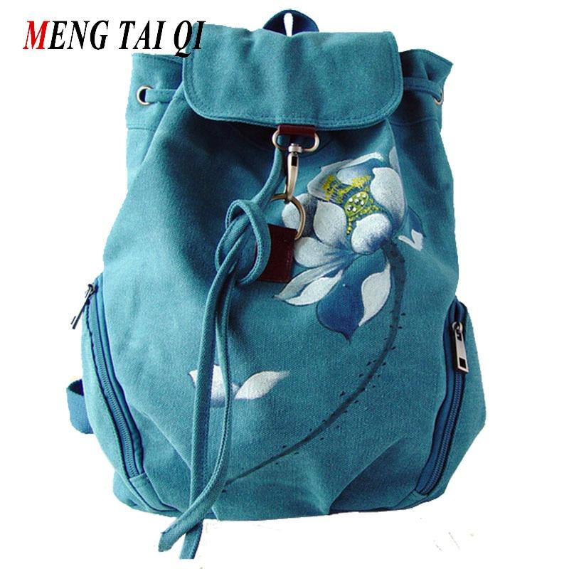Women Backpack Canvas Bag 2016 High Quality Floral Printing Backpack School Bags For Teenagers Vintage Big Laptop Bag Brand  4 cutie dog shiba inu big smile face canvas backpack canvas school bag xmas gift 45x32x12cm