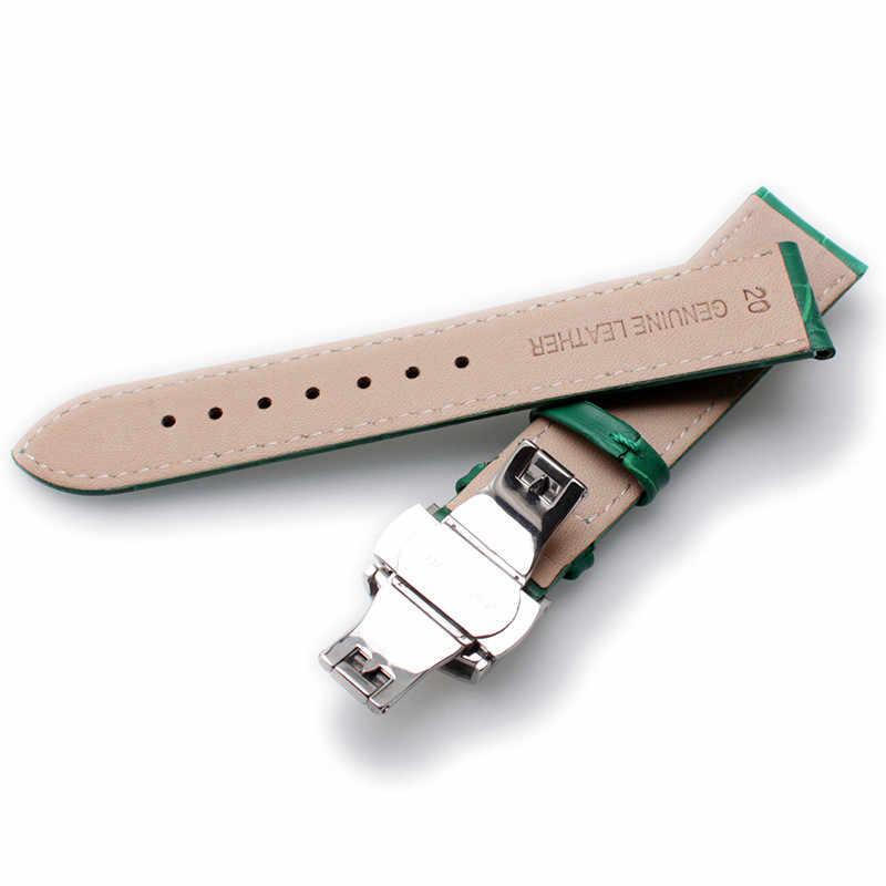 ירוק במבוק תבואה עור אמיתי שעון רצועת פרפר אבזם Mens נשים רצועת השעון צמיד 12mm 14mm 16mm 18mm 20mm 22mm