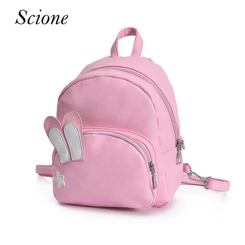Mini Lovely Rabbit Ears Women PU Leather Backpack School Bag For Teenage Girls Bookbag Travel Shoulder Bag Female Mochila 131601