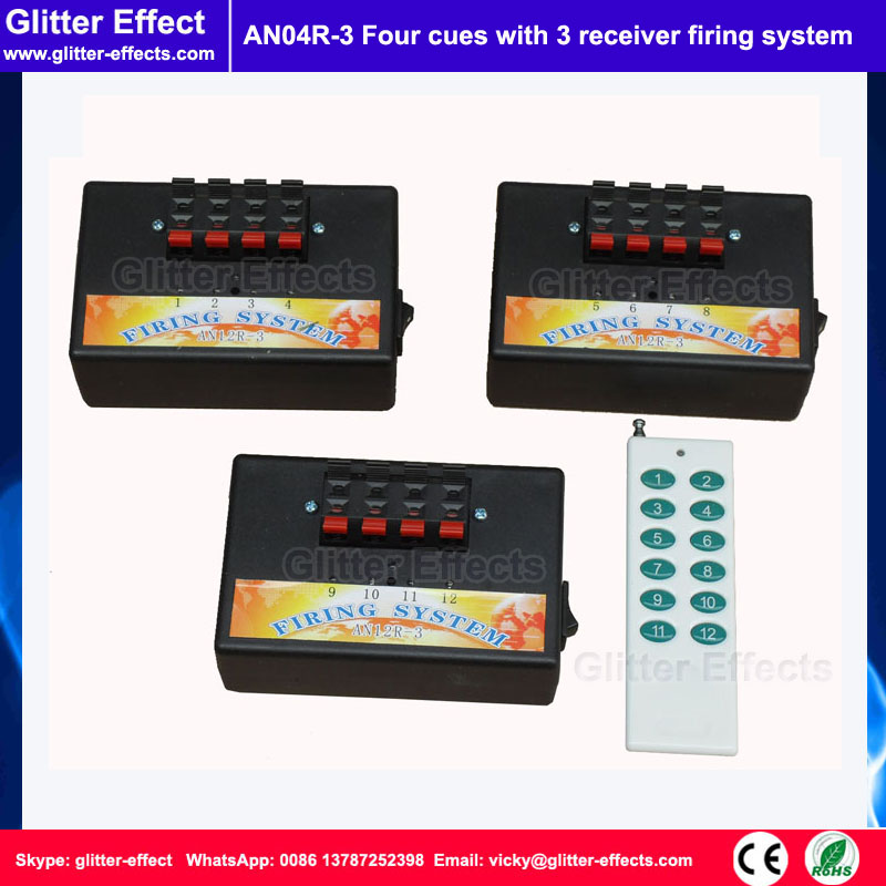 ФОТО 4 cue with 3 receiver Stage cold fireworks firing machine indoor fountain pyrotechnic Wireless Igniter Fireworks firing system
