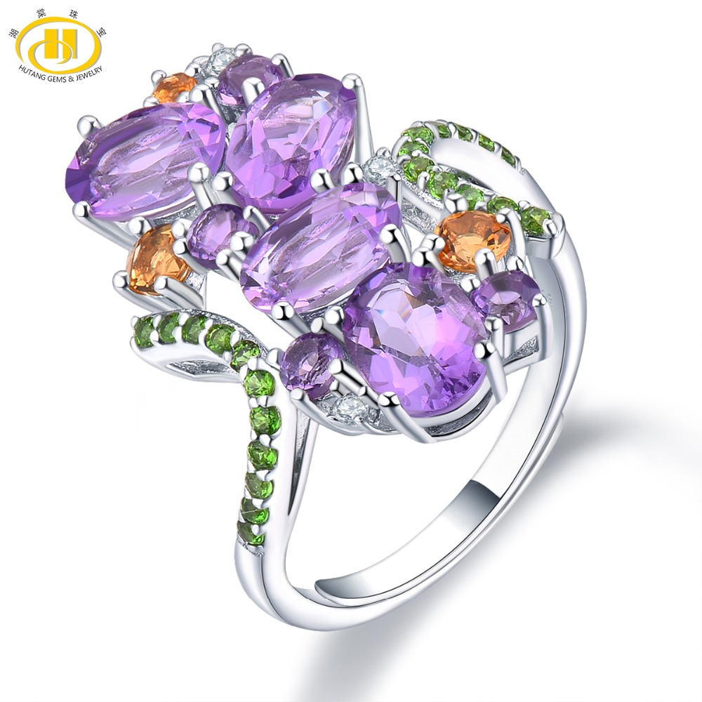 Hutang Multi Natural Gemstone Wedding Rings 925 Sterling Silver Amethyst Citrine Adjustable Open Ring Fine Jewelry for Women NewHutang Multi Natural Gemstone Wedding Rings 925 Sterling Silver Amethyst Citrine Adjustable Open Ring Fine Jewelry for Women New
