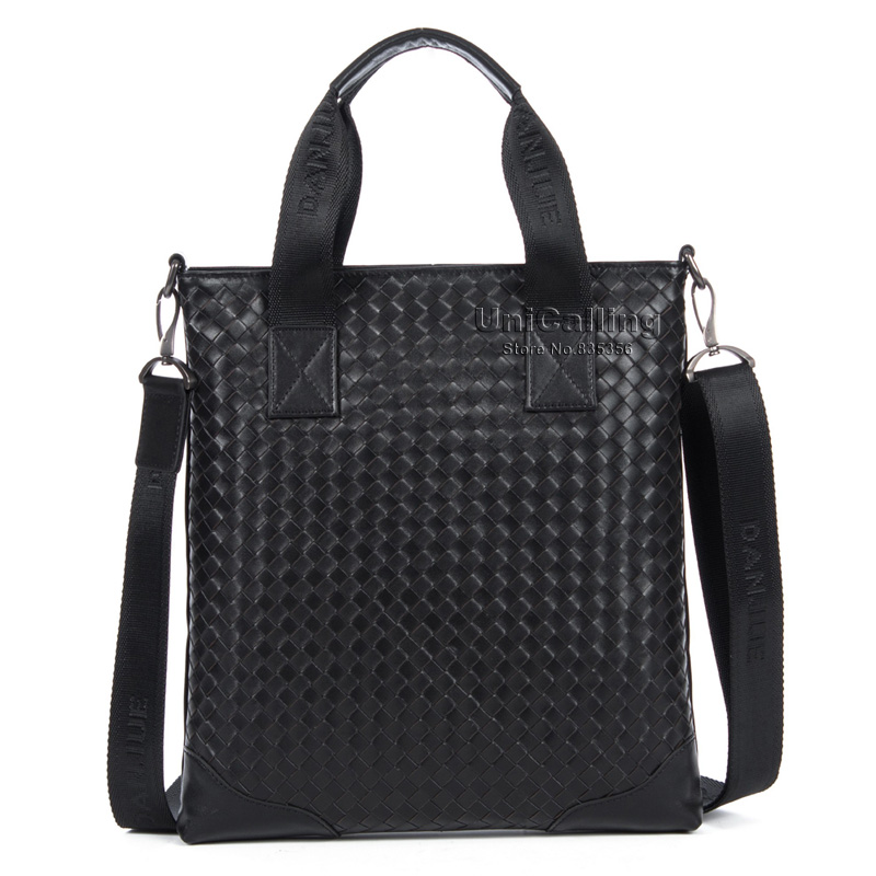 Brand luxury man bag high end top layer of cowhide genuine leather handmade knitting fashion men