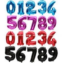 1 шт Золотой/Серебряный/красный/черный/синий/розовый красный номер фольгированные шары цифры воздушные шары с днем рождения Свадебные украшения части поставки