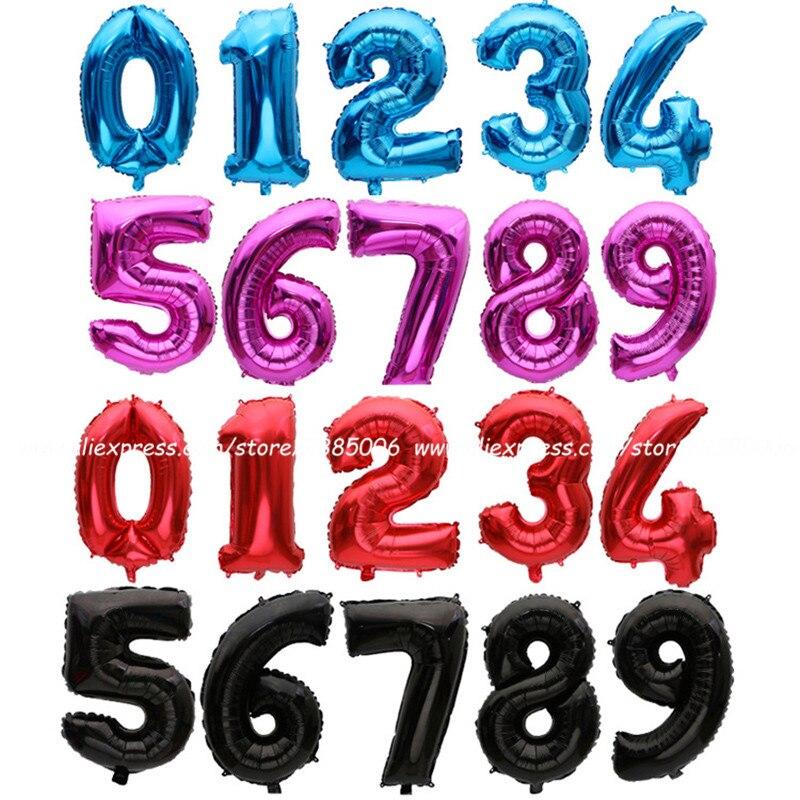 1 шт. Золотые/серебряные/красные/черные/синие/розово-красные фольгированные шары с цифрами воздушные шары на День рождения Свадебные украше...
