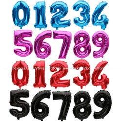 Balões laminados de alumínio de números, 1 peça de balões de ouro/prata/vermelho/preto/azul/rosa vermelho feliz aniversário casamento decoração parte suprimentos