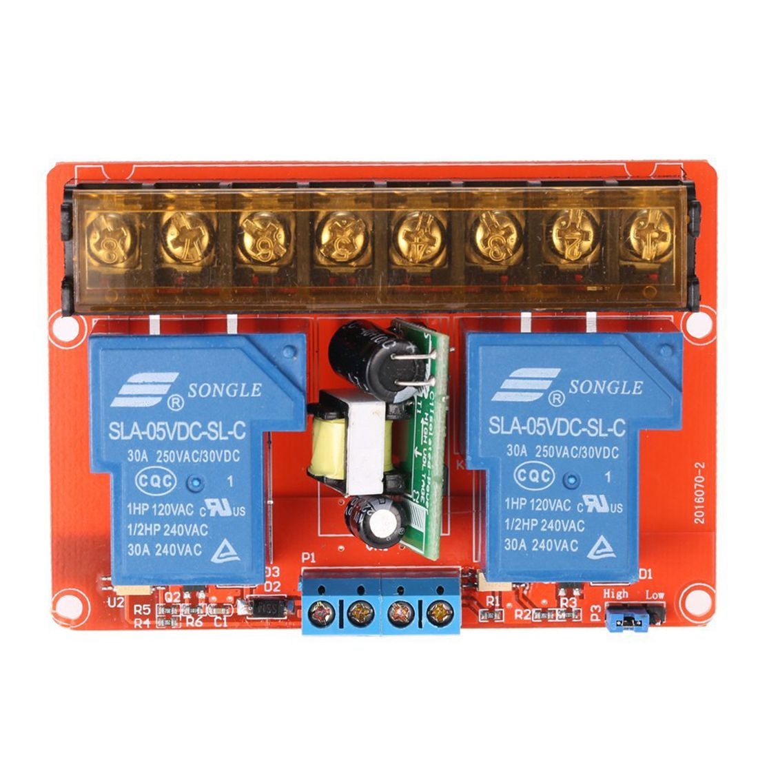 2-channel 250VAC 30A Solid State Relay Module Board High/Low Level Trigger 8 channel 5a high level trigger solid state relay module board 3 32v power supply and trigger voltage