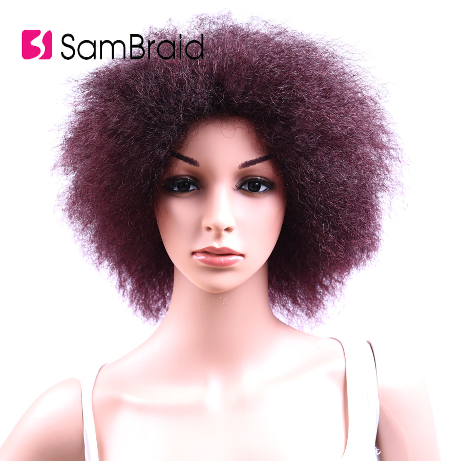 Short Fluffy Wig 8 inch Pure Color Synthetic Kinky Straight Wig 100g/piece Average Size Afro Wig for Women
