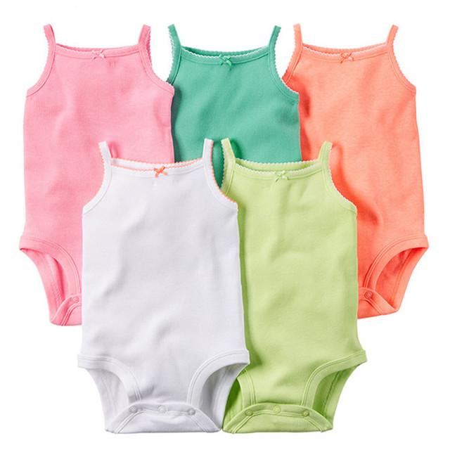 5 Peças/lote Bodysuits Estilingue Do Bebê Sem Mangas de Algodão Do Bebê Macacão Roupas de Bebê Sólidos Imprimir Dot Meninas Bodysuits Verão 2016 V49